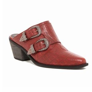 Leather Croc Embossed Mules in Red